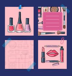 hand drawn makeup products nail polishes vector image
