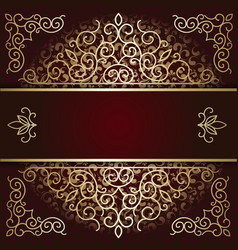 Luxury background card with maroon and gold vector image