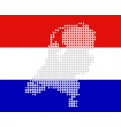 Netherlands map and flag vector image vector image