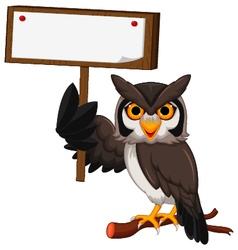 owl cartoon holding blank board vector image vector image