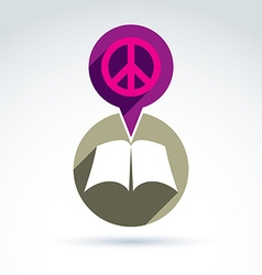 Peace concept open book with blank sheets placed vector image vector image