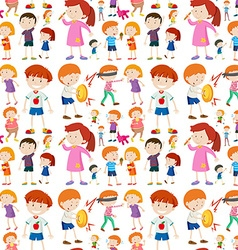 Seamless background design with kid characters vector image vector image