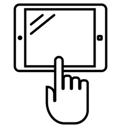Tablet with hand outline icon vector image vector image
