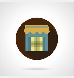 trade stall flat brown round icon vector image vector image