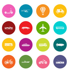 transportation icons many colors set vector image