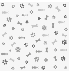 Background with dog cat paw print and bone vector image