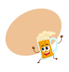 funny beer glass mug character with human face vector image vector image