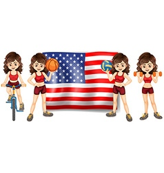American flag and woman athlete vector image vector image