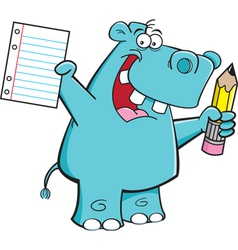 Cartoon Hippo Student vector image