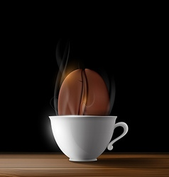 cup of coffee and coffee beans on a black vector image vector image