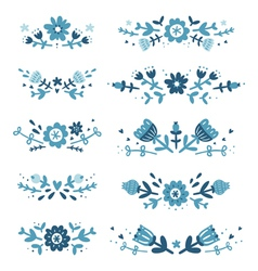 Decorative floral compositions set 2 vector image vector image