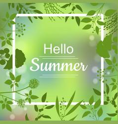 hello summer green card vector image vector image