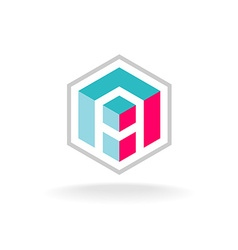 Letter A 3D cube construction hex logo vector image