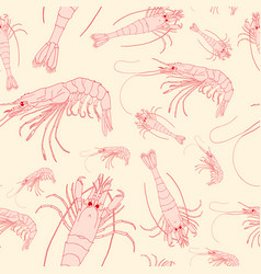seamless pattern with shrimps vector image