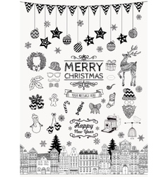 Set of hand-drawn outlined christmas doodle icons vector