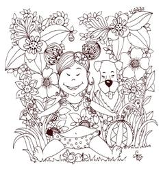 Zen Tangle baby little girl vector image vector image