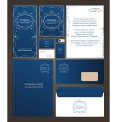 Blue corporate identity template design with round vector image