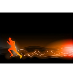 burning runner on the dark vector image vector image