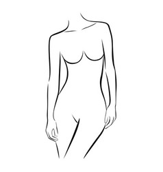 front view female stylized half body contour vector image