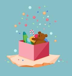 Kids toys gift box vector image