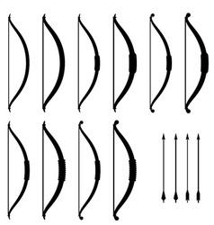 medieval bow weapon black symbols vector image vector image