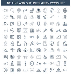 100 safety icons vector