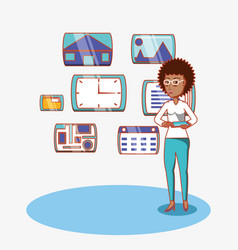 Afro american woman with tablet computer and apps vector