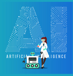 Ai smart robot and scientist design vector