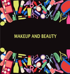 all makeup and beauty background of MakeUp and bea vector image