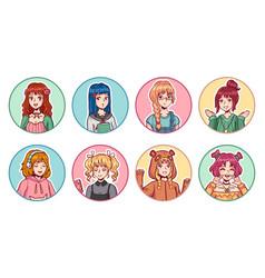 Anime girls avatars color portraits cute manga vector