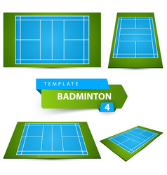 Badminton field icon four items sport and life vector