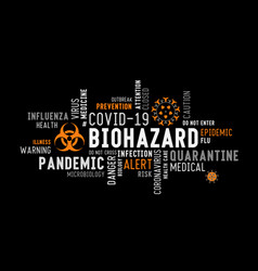 Biohazard word tag cloud typography on a black vector