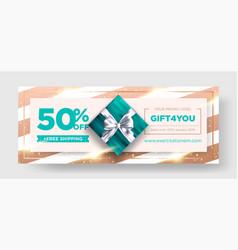 birthday gift coupon elegant christmas vector image