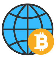 Bitcoin global flat icon vector