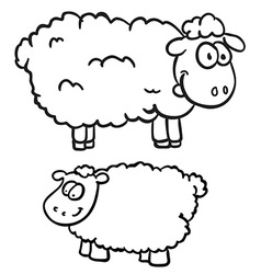 black and white two sheep vector image