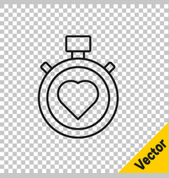 black line heart in center stopwatch icon vector image