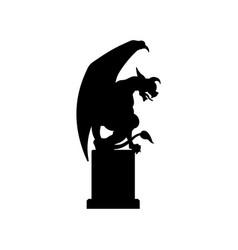 black silhouette gothic statue gargoyle vector image