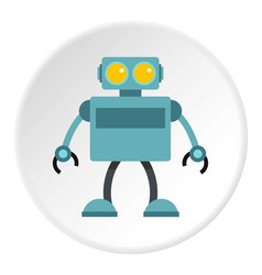 Blue robot icon circle vector