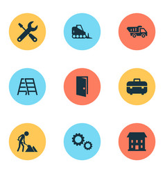 Building icons set collection of equipment vector