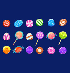 candies sett glossy sweets of different colors vector image