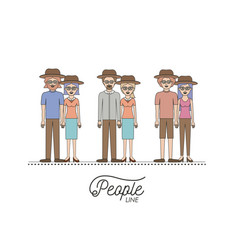 caricature couple different people line set with vector image