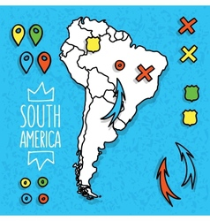 cartoon style hand drawn travel map south vector image
