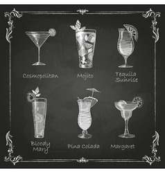 Chalk drawings cocktail menu vector image