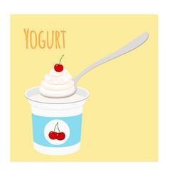 Cherry yogurt in plastic cup milk cream product vector