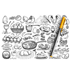 chicken eggs doodle set collection vector image