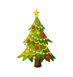 Christmas fir tree with decorations traditional vector