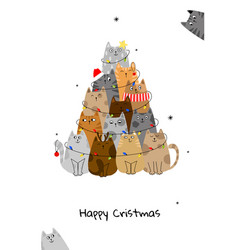 Christmas tree with cats doodle cartoon style vector