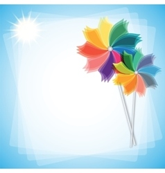Colorful windmills isolated on blue-white vector image