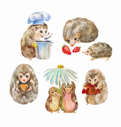 Cute and funny hedgehogs cartoon animals vector