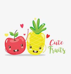 cute fruits cartoons vector image